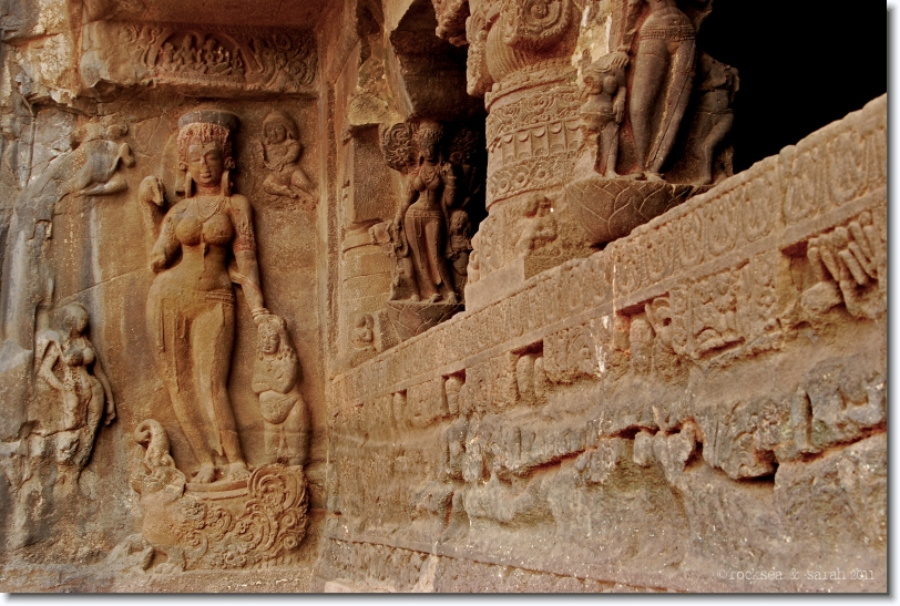 River Goddess Ganga with Makara at Cave 21, Ellora
