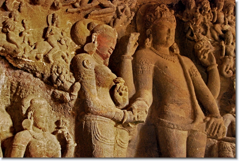 marriage of parvati and siva at cave 29, ellora